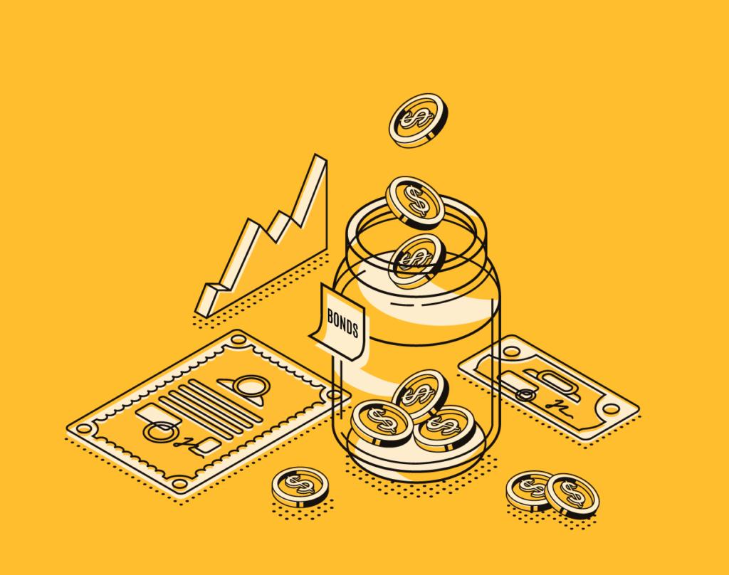 Glas zur Veranschaulichung von Bonds