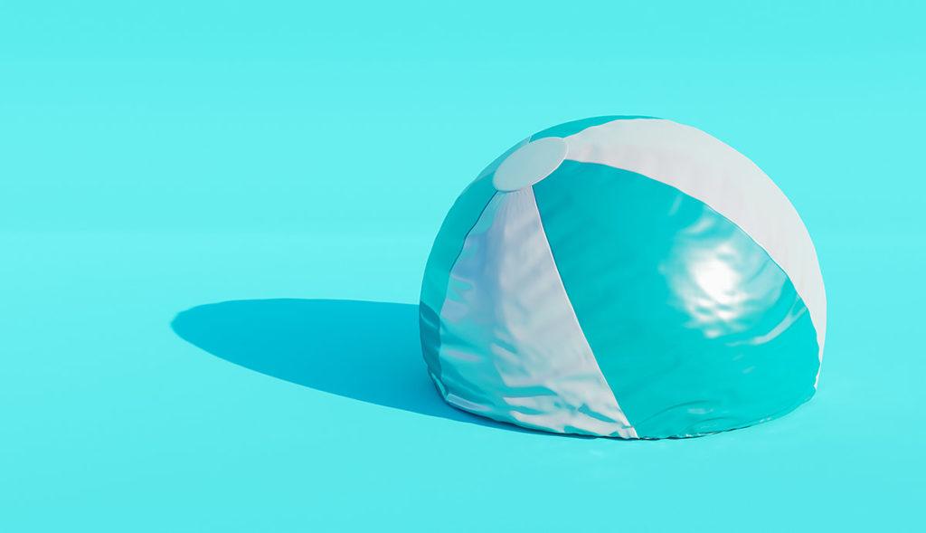 Ball mit halb herausgelassener Luft